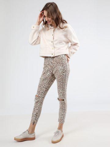 ג'ינס סקיני בהדפס מנומר עם קרעים