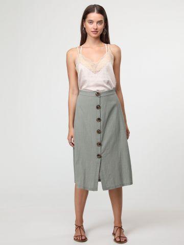 חצאית מידי בשילוב פשתן עם כפתורים בחזית