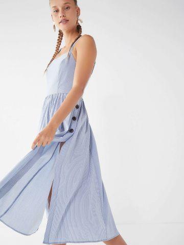 שמלת מידי בהדפס פסים עם כפתורים בצד UO