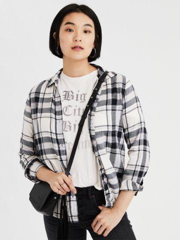 חולצת משבצות מכופתרת עם כיס
