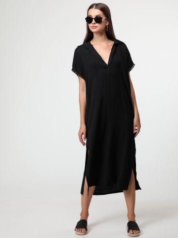 שמלת מידי בסגנון גלביה עם רקמת חורים