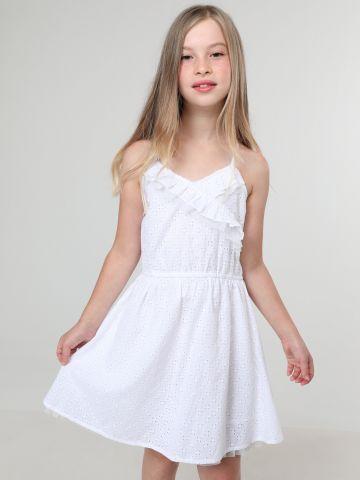 שמלת מיני תחרה עם עיטורי מלמלה