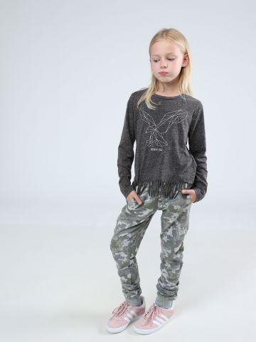 מכנסי טרנינג בהדפס קמופלאז' עם כיווצים