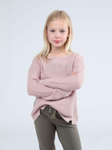 סוודר בייסיק עם שסעים קטנים