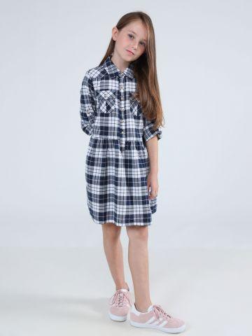 שמלת פפלום מיני בהדפס משבצות