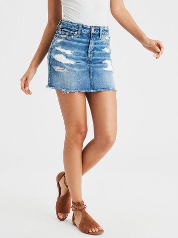 חצאית ג'ינס מיני עם עיטורי קרעים Hi Rise Mini