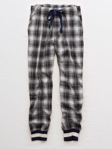 מכנסי פיג'מה פלאנל בהדפס משבצות / נשים