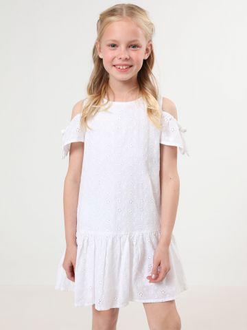 שמלת רקמת פרחים קולד שולדרס עם סיומת פפלום