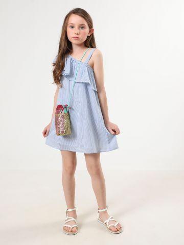שמלת פסים קולד שולדר עם מלמלה
