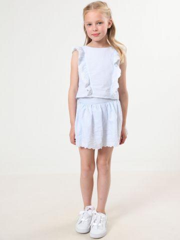 חצאית פסים מיני עם עיטורי רקמה