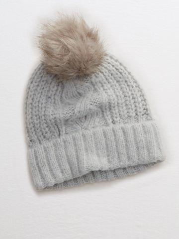 כובע גרב סרוג בדוגמה מתחלפת עם פונפון פרוותי / נשים
