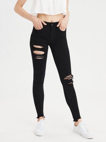 ג'ינס סקיני סטרצ' עם קרעים High Rise Jegging