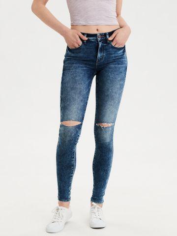 ג'ינס סקיני ווש בשילוב קרעים High waisted jegging