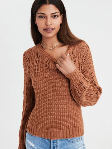 סוודר בשילוב טקסטורת רשת