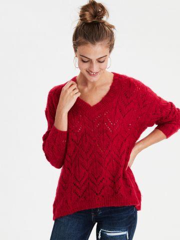סוודר בסריגת מעויינים