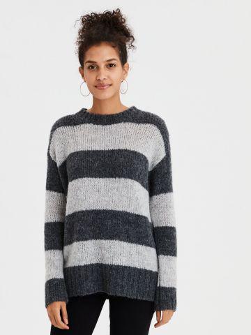 סוודר צמר בדוגמת פסים