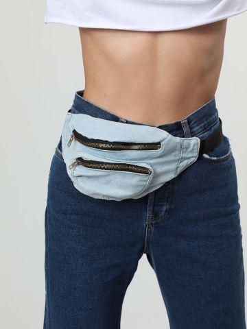 פאוץ' חגורה ג'ינס עם רוכסנים