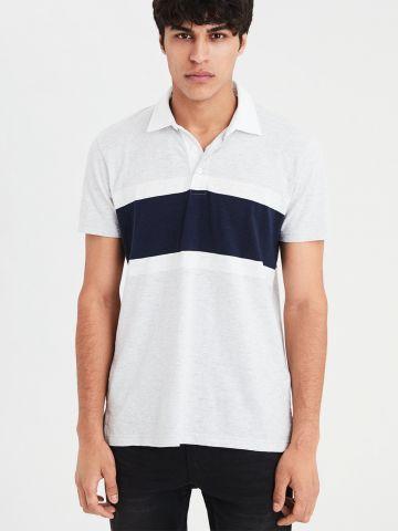 חולצת פולו קולור בלוק לוגו