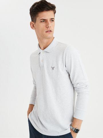 חולצת פולו שרוולים ארוכים עם רקמת לוגו