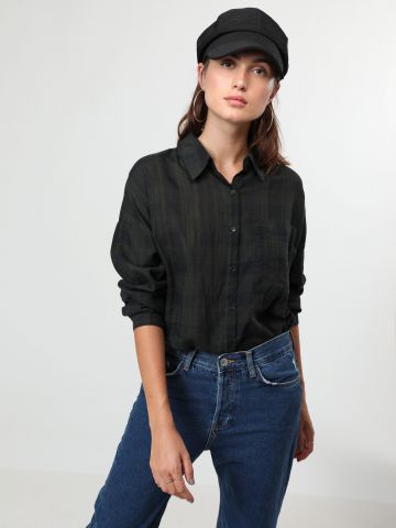 חולצת משבצות מכופתרת אוברסייז עם כיס בחזית