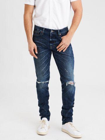 ג'ינס סלים בגזרה ישרה עם קרעים Slim