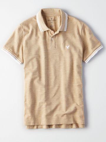 חולצת פולו ווש לוגו עם פסים בשוליים