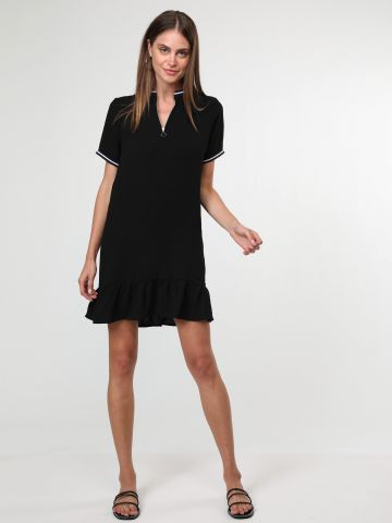 שמלת מיני פפלום עם רוכסן בחזית