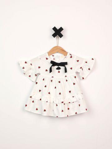 שמלה בהדפס שושנים עם עיטורי מלמלה ופפיון / בייבי בנות