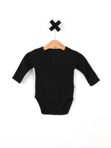 בגד גוף בייסיק ריב עם כפתורים / בייבי בנים