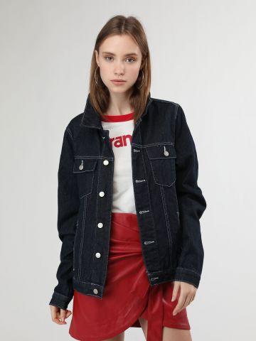ג'קט ג'ינס אוברסייז עם חגורת קשירה