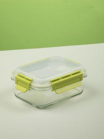 קופסת אחסון מזון מלבנית מזכוכית ופלסטיק