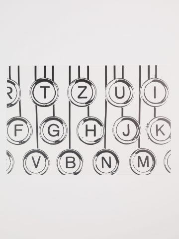 פלייסמט פלסטיק מלבני Typewriter