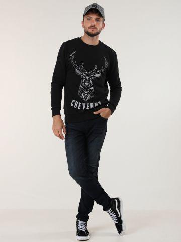 ג'ינס סקיני בשטיפה כהה עם הלבנה