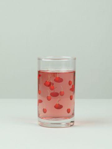מארז 6 כוסות זכוכית לשתייה קרה בהדפס דובדבנים Cherry