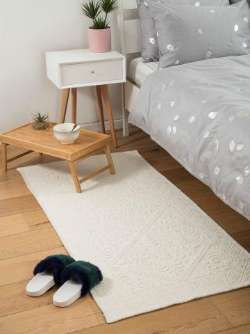 שטיח כותנה מלבני עם עיטורים