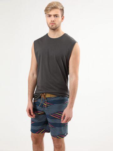 מכנסי בגד ים בהדפס פסים מולטי קולור