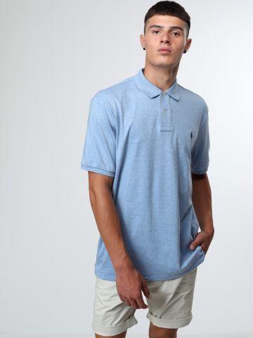 חולצת פולו אסימטרית עם רקמת לוגו