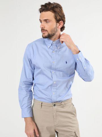 חולצה מכופתרת משבצות עם רקמת לוגו