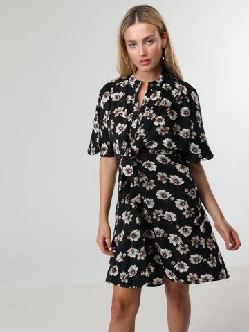 שמלת מיני פרחים עם כפתורים ועיטור קשירה בחזית