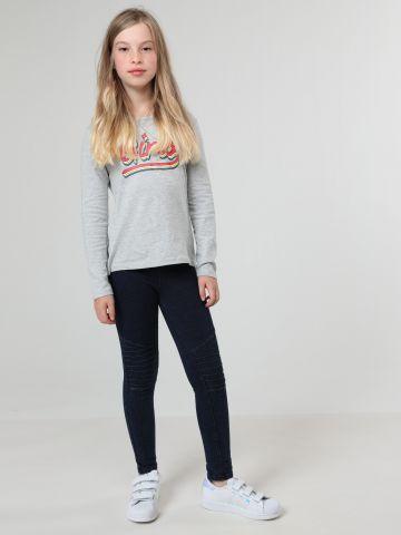 טייץ דמוי ג'ינס עם גימורי תפרים