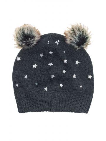 כובע גרב בהדפס כוכבים עם 2 פונפונים / בנות