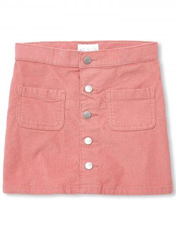 חצאית מיני קורדרוי עם כיסים / בנות