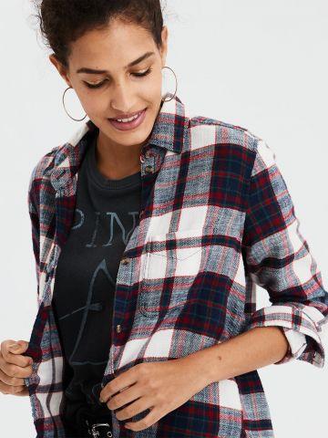 חולצת פלאנל מכופתרת בהדפס משבצות