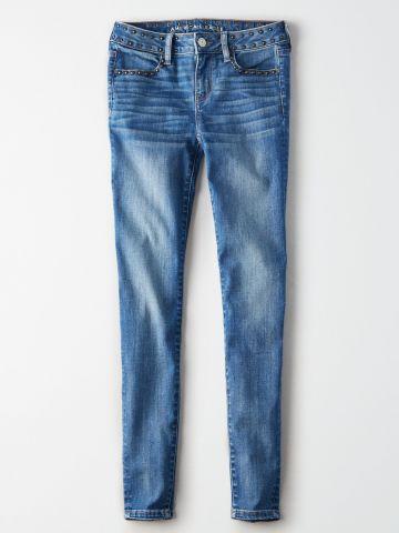 ג'ינס סקיני סטרץ' בעיטור ניטים Skinny / נשים