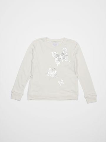 סווטשירט מודפס פרפרים מטאלים / בנות