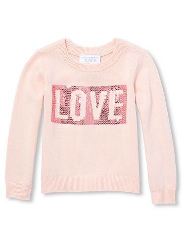 סוודר בעיטור פייטים Love / בנות
