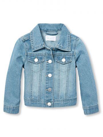 ג'קט ג'ינס משופשף בשטיפה בהירה/ בנות