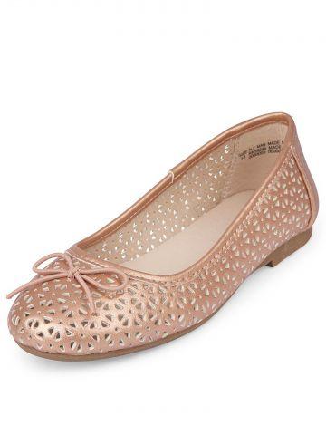 נעלי בובה מחוררות עם פפיון/ בנות
