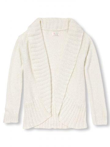 סוודר אסימטרי עם צווארון פתוח / בנות