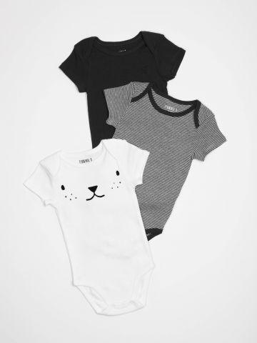מארז 3 בגדי גוף עם שרוולים קצרים / בייבי בנים
